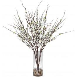 Quince Blossoms Silk Gray Centerpiece