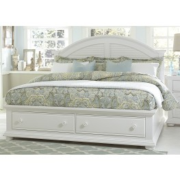 Summer House Oyster White King Panel Storage Bed