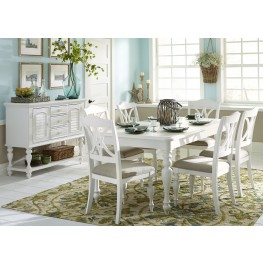 High Quality Summer House Oyster White Rectangular Leg Extendable Dining Room Set