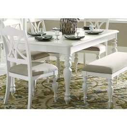 Summer House Oyster White Extendable Rectangular Leg Table