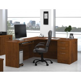 Embassy Brown L-Shaped Workstation Kit