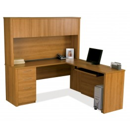 Embassy Cappuccino L-Shaped Workstation Kit
