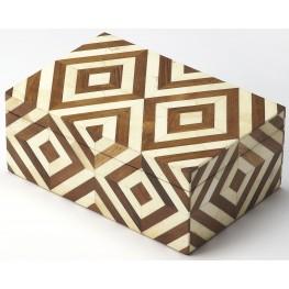 Maya Wood & Bone Inlay Storage Box