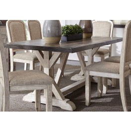Willowrun Rustic White Trestle Dining Table
