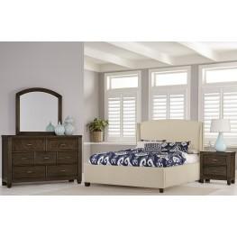 Rustic Cottage Dark Rustic Oak Upholstered Bedroom Set