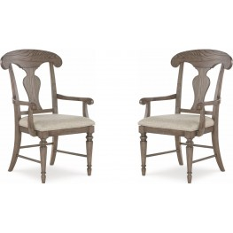 Brookhaven Vintage Linen Splat Back Arm Chair Set of 2