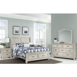 Rustic Cottage Rustic White Sleigh Storage Bedroom Set