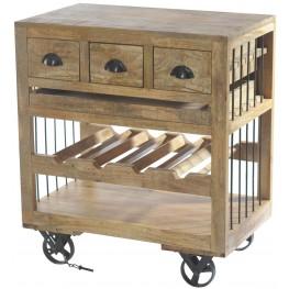 Amara Wooden Wine Cart With Shelf On Wheels