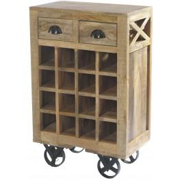 Amara Wooden Wine Cart With Rack On Wheels