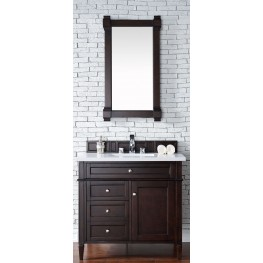 "Brittany 36"" Burnished Mahogany Single Vanity With 3Cm Snow White Quartz Top"