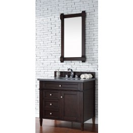 "Brittany 36"" Burnished Mahogany Single Vanity With 3Cm Shadow Gray Quartz Top"