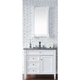 "Brittany 36"" Cottage White Single Vanity With 3Cm Shadow Gray Quartz Top"