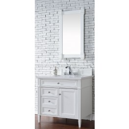 "Brittany 36"" Cottage White Single Vanity With 3Cm Snow White Quartz Top"