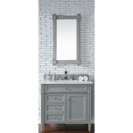 "Brittany 36"" Urban Gray Single Vanity With 3Cm Snow White Quartz Top"