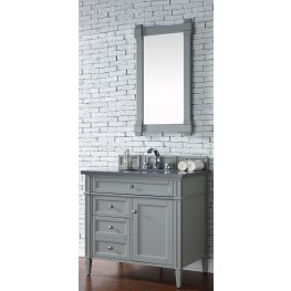 "Brittany 36"" Urban Gray Single Vanity With 3Cm Shadow Gray Quartz Top"