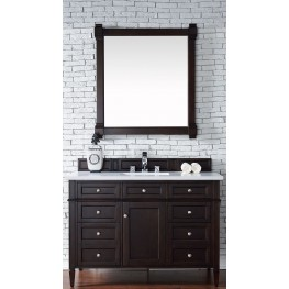 "Brittany 48"" Burnished Mahogany Single Vanity With 3Cm Snow White Quartz Top"
