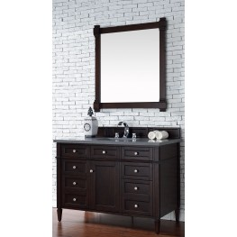 "Brittany 48"" Burnished Mahogany Single Vanity With 3Cm Shadow Gray Quartz Top"