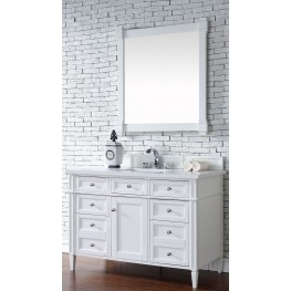 "Brittany 48"" Cottage White Single Vanity With 3Cm Snow White Quartz Top"