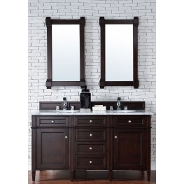 "Brittany 60"" Burnished Mahogany Double 2CM Top Vanity Set"