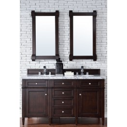 "Brittany 60"" Burnished Mahogany Double 4CM Top Vanity Set"