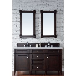 """Brittany 60"""" Burnished Mahogany Double Vanity With 3Cm Snow White Quartz Top"""
