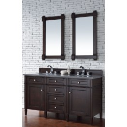 "Brittany 60"" Burnished Mahogany Double 3CM Top Vanity Set"