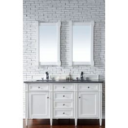 """Brittany 60"""" Cottage White Double Vanity With 3Cm Shadow Gray Quartz Top"""