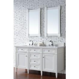 "Brittany 60"" Cottage White Double Vanity With 3Cm Snow White Quartz Top"
