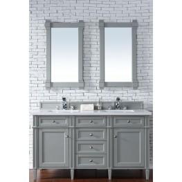 """Brittany 60"""" Urban Gray Double Vanity With 3Cm Snow White Quartz Top"""