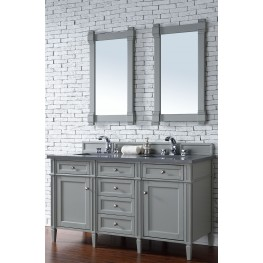 "Brittany 60"" Urban Gray Double Vanity With 3Cm Shadow Gray Quartz Top"