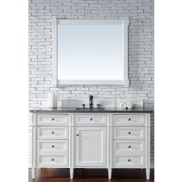 """Brittany 60"""" Cottage White Single Vanity With 3Cm Shadow Gray Quartz Top"""