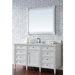 "Brittany 60"" Cottage White Single Vanity With 3Cm Snow White Quartz Top"