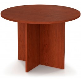 "Bestar 42"" Round Meeting Table With 1"" Melamine Top In Bordeaux"
