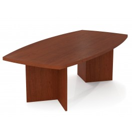 "Boat Shaped Conference Table With 1 3/4"" Melamine Top In Bordeaux"