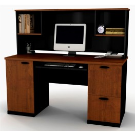 Hampton Credenza and Hutch In Tuscany Brown & Black