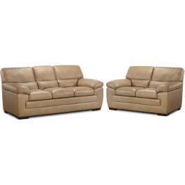 Biscayne Longhorn Wheat Leather Living Room Set
