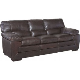 Biscayne Longhorn Black Oak Leather Sofa