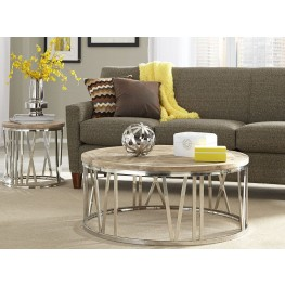 Round Stainless Steel Occasional Table Set
