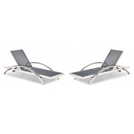 Metropolitan Brushed Aluminum Lounger Set of 2