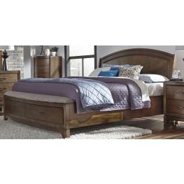 Avalon III Pebble Brown Queen Panel Storage Bed