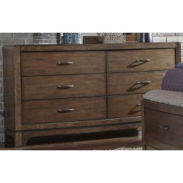 Avalon III Pebble Brown 6 Drawer Dresser
