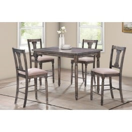 Wallace Weathered Gray And Tan Linen 5 Piece Counter Height Set ...