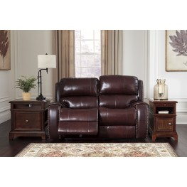 Gilmanton Burgundy Power Reclining Loveseat With Adjustable Headrest