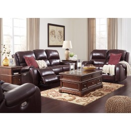Gilmanton Burgundy Power Reclining Adjustable Headrest Living Room Set