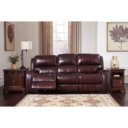 Gilmanton Burgundy Power Reclining Sofa With Adjustable Headrest