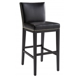 Vintage Black Leather Barstool