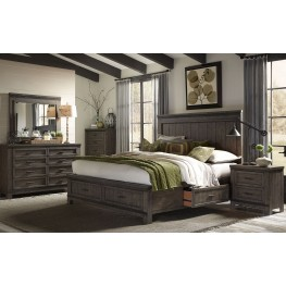 Thornwood Hills Rock Beaten Gray Three Sided Panel Storage Bedroom Set