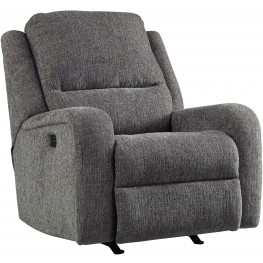 Krismen Charcoal Power Recliner with Adjustable Headrest