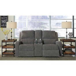 Krismen Charcoal Power Reclining Console Loveseat with Adjustable Headrest