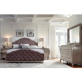 Rhianna Silver Patina Upholstered Panel Bedroom Set